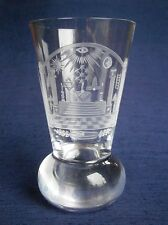 SUPERB TRADITIONAL MASONIC FIRING GLASS HAND ENGRAVED WITH NUMEROUS SYMBOLS