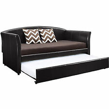 Daybed With Trundle Faux Leather Upholstery Twin Dark Brown Sofa Guest Bedroom