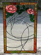 Bleiverglasung Fensterbild Jugendstil- Motiv mit Echt - Antikglas in Tiffany
