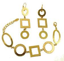 """VINTAGE DOLCE VITA HAMMERED GOLD TONE SHAPES BRACELET & EARRINGS SET ADJ 8.5""""-7"""""""