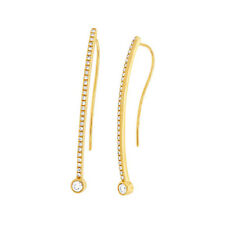 0.29 CT 14K Yellow Gold Semi Curved Bar Stick Round Diamond Fish Hook Earring