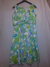 Sag Harbor Women' s Aqua White Green Paisley Cotton Spandex Dress Size 12 NWOT
