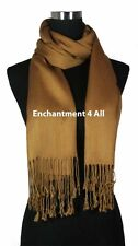 Handmade 100% 2-Ply Pashmina Cashmere Bridal Scarf Shawl Wrap XL, Camel Solids