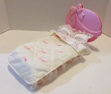 VINTAGE BARBIE PLATFORM BED WITH REVERSIBLE HEADBOARD & COMFORTER 1980'S