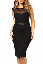 PLUS SIZE Sexy Black Knee length Clubwear Party Cocktail Bodycon Dress LC6190 16