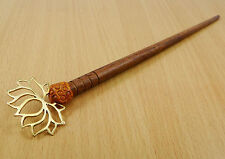Handmade Brown Floral Hair Stick Clip Wooden Bun Pin Hair Accessory Jewelry