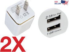 2x 2-Port Dual USB Wall Adapter Charger US Plug for Samsung Apple iPhone LG HTC