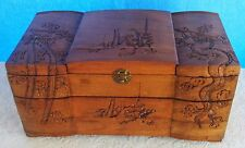 Vintage Hand Carved Wood Jewelry Box Asian Oriental Pagoda Dragon Rosewood