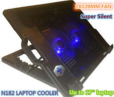 "14''-17"" Laptop USB 2X120MM Big Fan Cooling Cooler Pad Silent N182 OZ Seller"