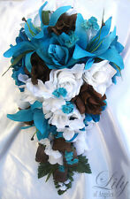 17pcs Wedding Cascade Bridal Bouquet Silk Flower Teardrop TURQUOISE BROWN WHITE