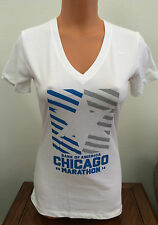 Womens S Small Slim Fit Nike Dri-Fit 2014 Chicago Marathon T-Shirt White 726274