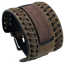 Nemesis WLB-B 24.5 mm Lug Width Brown Weaved Wide Leather Cuff Wrist Watch Band