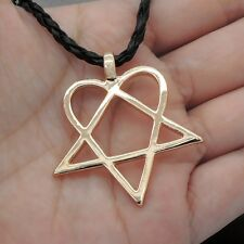 "Heartagram Star Heart HIM Gold Tone Pewter Pendant with 20"" Necklace PG#G233"