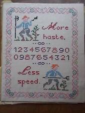 Handsewn handmade childrens textile sampler plus hâte moins vitesse farmer numéros