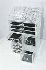 Unique Home Clear Acrylic Jewelry, Cosmetic Storage Makeup Organizer 4 Piece Set