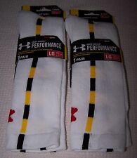 UNDER ARMOUR Performance 2 Pair Heat Gear Crew Socks WHITE/YELLOW Men's LG - $26