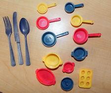 Vintage 12 Pc Child's Toy Plastic Pot & Pans plus 1 Metal Knife Fork Spoon Set