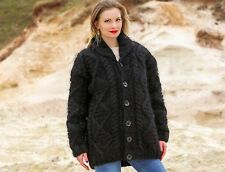 SUPERTANYA Hand Knitted Sweater BLACK Shawl Collar Cardigan Fuzzy Mohair Jacket
