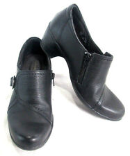 Clarks Bendables Black Leather Women's Heels Shoes Buckle Zipper Size 7.5 M