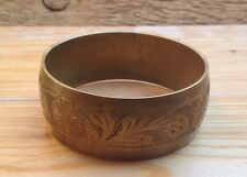 Vintage Gold Tone Brass? Bangle/ Bracelet/Retro/1970's/80's/Hippy/Boho/Engraved