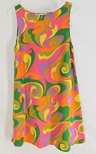 VINTAGE PLUS SUSAN DRESS SMALL Multi Color Mod Hippie Retro Style Sheath