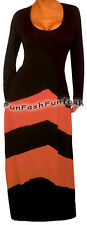 KC1 FUNFASH BLACK PEACH CHEVRON LONG SLEEVES MAXI WOMEN PLUS SIZE DRESS 1X XL 16