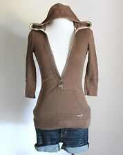 HOLLISTER Abercrombie V Neck Ribbed Hooded Hoodie Fitted Tee Shirt Top Blouse S
