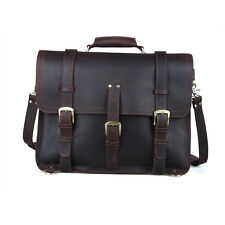 "Extra Large 17"" Thick Full Grain Leather Briefcase Backpack Messenger Laptop Bag"