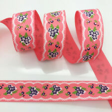 NEW~ 5 Yards 1Inch 25mm Wide Printed Grosgrain Ribbon Hair Bow DIY Sewing #A130
