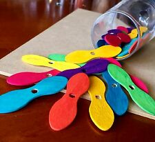 10 x Colour Wooden Ice Cream Spoon Craft Sticks Bow Tie Propeller Spatula Tester