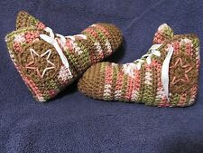 Crochet High Top Sneaker Slippers/Socks in Teen/Women Pink Camo/Brown - Handmade