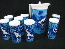 Vintage Baseball Design  Insulated Plastic Drink Pitcher & Eight (8) Cups 1971