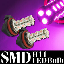 2x H11 5050 18SMD Pink LED Bulb Non Strobe For Fog Light / Daylight Super 12V HD