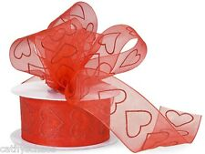 Red Glitter Hearts Organza Wired Ribbon Holiday Valentine's Day Bows Weddings