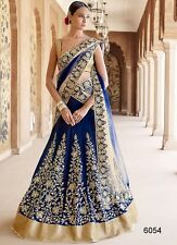 Indian Designer Party Wear Lehenga Lengha Choli Blue Bridal Wedding Lehenga