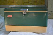 Vintage 1971 Coleman Camp Green  Metal Cooler/Ice Chest