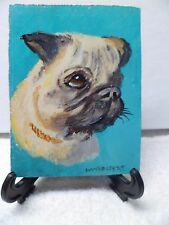 PUG- HAND PAINTED ON TILE WITH EASEL BY ARTIST W. W. HOFFERT