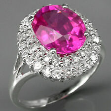IMPRESSIVE! TOP PINKISH RED RUBY & SAPPHIRE 925 STERLING SILVER RING