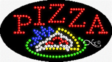 """NEW """"PIZZA"""" 27x15 OVAL SOLID/ANIMATED LED SIGN w/CUSTOM OPTIONS 24469"""