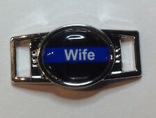 Blue Line w/word Wife and Black Background Oval paracord shoelace (1) charm