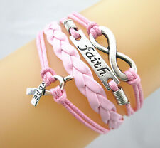 Lots 10PCS Infinity/Faith/Cancer Ribbon With Hope Leather Braided Bracelet PINK