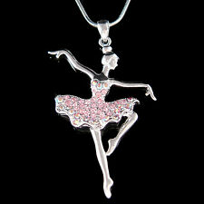 w Swarovski Crystal Pink BALLERINA The Nutcracker Ballet Dancer Jewelry Necklace