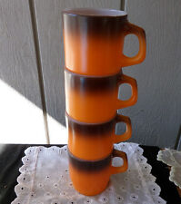 Anchor Hocking Fire King Ovenware Matching 4 Stackable Orange Brown Cups Mugs