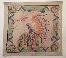 antique hand embroidered figural American Chief needlepoint linen tapestry art