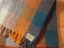Vtg Millars Plaid Pure Wool Blanket Throw Green Orange Handwoven Ireland 40 x 60