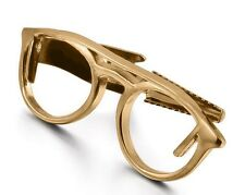 Gold Tie Clip Optical Glasses Glass Wayfarer Biker Wedding Bar Clasp Optometrist