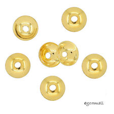 10x 22kt Gold Plated Sterling Silver Simplicity Bead Cap 6mm #99207