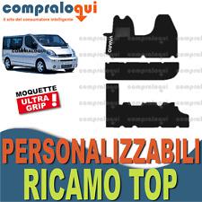 TAPPETINI per OPEL VIVARO 9 POSTI MOQUETTE con FONDO GOMMA + LOGO TOP RICAMATO