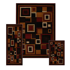 Red Modern Geometric Squares 3 Pcs Area Rug Contemporary Runner Combo Mat S