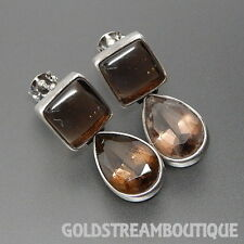 JCD SIGNED VINTAGE 925 SILVER CHOCOLATE COLOR SMOKY TOPAZ DANGLE EARRINGS #6227